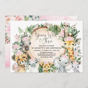 Young Wild & Three Floral Girl Jungle 3rd Birthday Invitation