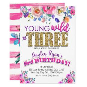 Young Wild & Three Girls Boho Floral 3rd Birthday Invitations