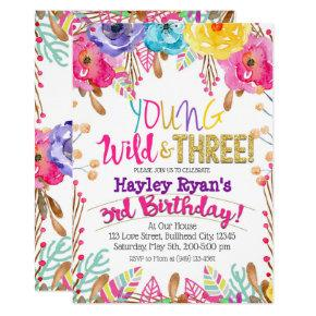 Young Wild & Three Girls Boho Floral 3rd Birthday Invitation