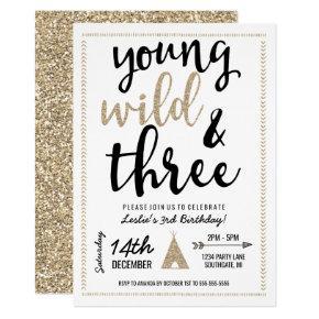 Young Wild & Three Invitation - Black & Gold
