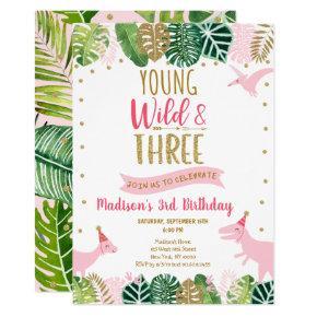 Young Wild & Three Pink Dinosaur Birthday Invitation