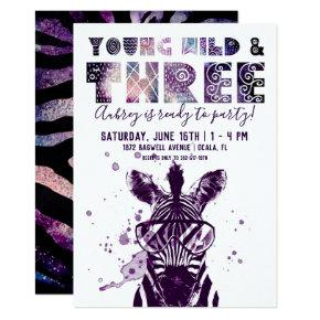 Young, Wild & Three | Rockstar Zebra Invitations