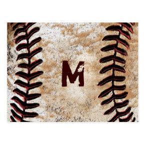 Your Monogram Vintage Baseball Post Invitations