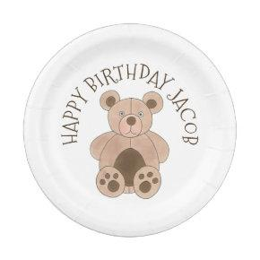 You're Invited Brown Teddy Bear Birthday Party Paper Plate