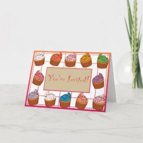 """You're Invited"" Cupcake Greeting Invitation"