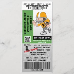 You've Been Drafted Football Baby First Birthday Invitation