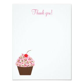 yummy cupcake 4 5 flat thank you note invitations candied clouds