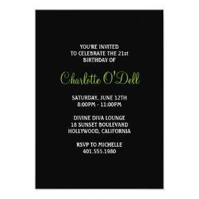 zebra print martini birthday party invitation