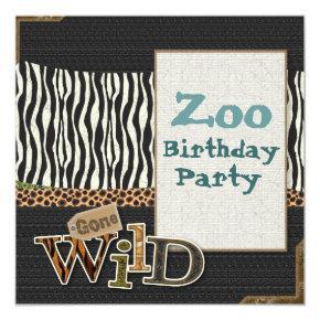 Zebra print Safari Zoo Birthday Party Invitations