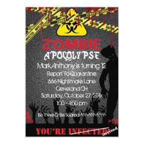 Zombie Apocalypse Halloween Birthday Invitation