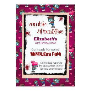 Zombie Apocalypse Themed Birthday Party Invite