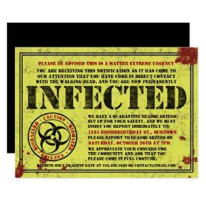 Zombie Biohazard Halloween Birthday Party Invitation