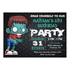 Zombie Boy Halloween Costume Birthday Invitation
