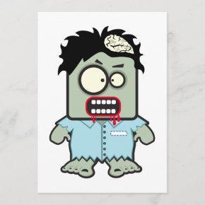 Zombie Cartoon Blank Halloween Invitation