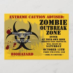 Zombie Outbreak Party Invitation