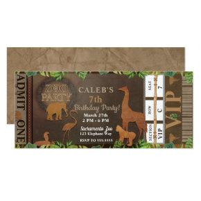 ZOO PARTY Brown Animals Birthday Party Ticket Invitations