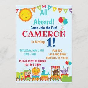 Zoo Train 1st Birthday Invitation