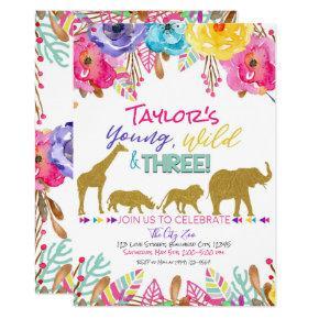 Zoo Young Wild & Three Girls Safari 3rd Birthday Invitation